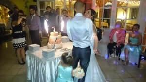 Megérkezik a torta az esküvő dj. rendezvényre.